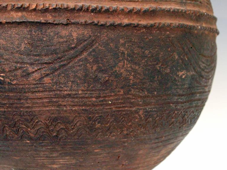 Nigerian African Terracotta Pottery Storage Jar Impressed