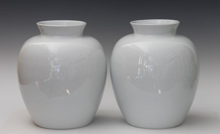 Large Pair Of Limoges French Porcelain Blanc De Chine Ginger Jar