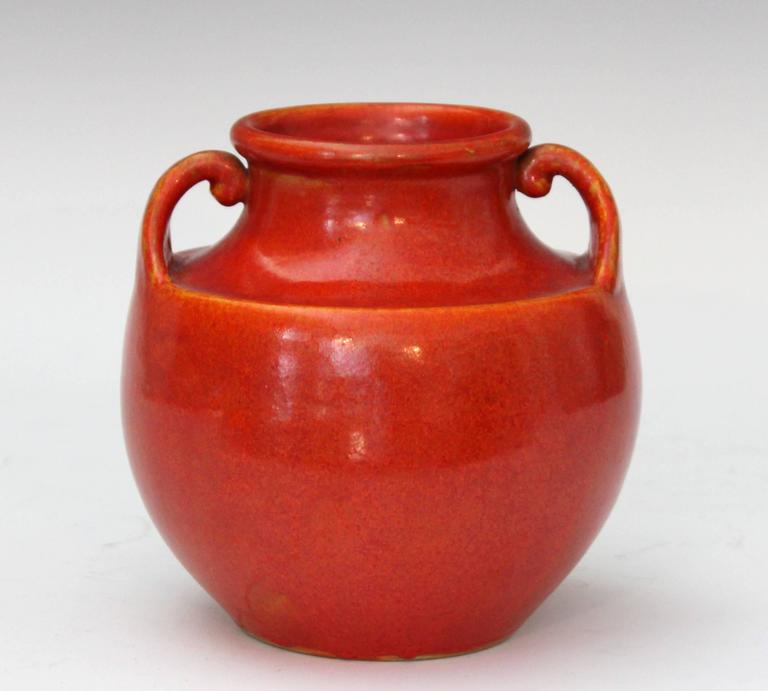 Turned Awaji Pottery Art Deco Vase in Crystalline Chrome Red Glaze For Sale