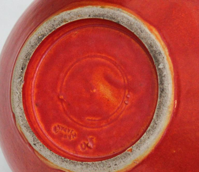 Awaji Pottery Art Deco Vase in Crystalline Chrome Red Glaze For Sale 2