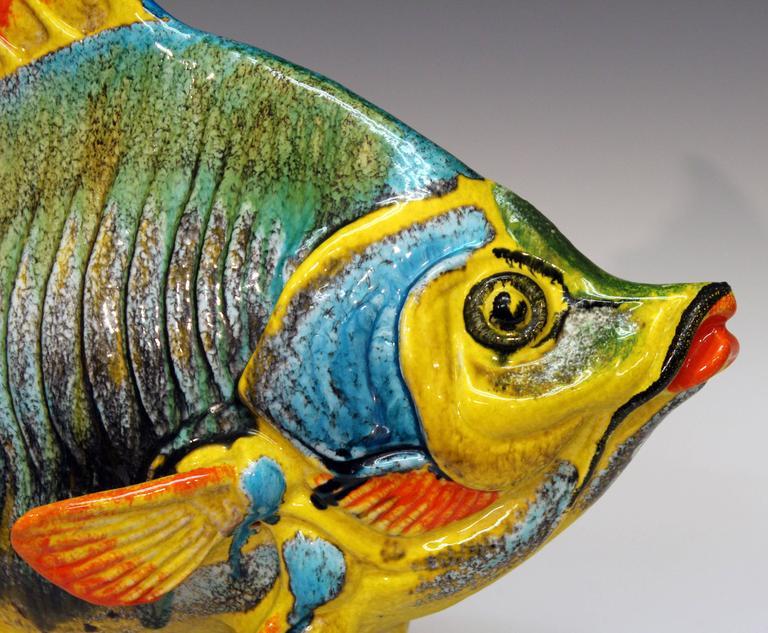 Large Vintage Italian Pottery Fish Figure Sculpture Mancioli Raymor ...