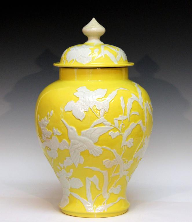 Large antique japanese carved studio porcelain yellow covered urn vase for sale at 1stdibs - Large decorative vases and urns ...
