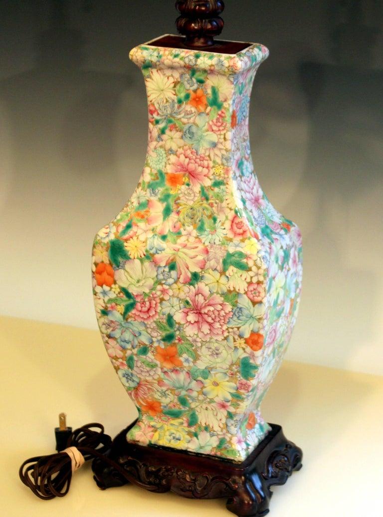 Antique Chinese Porcelain Famille Rose Vase Lamp 100