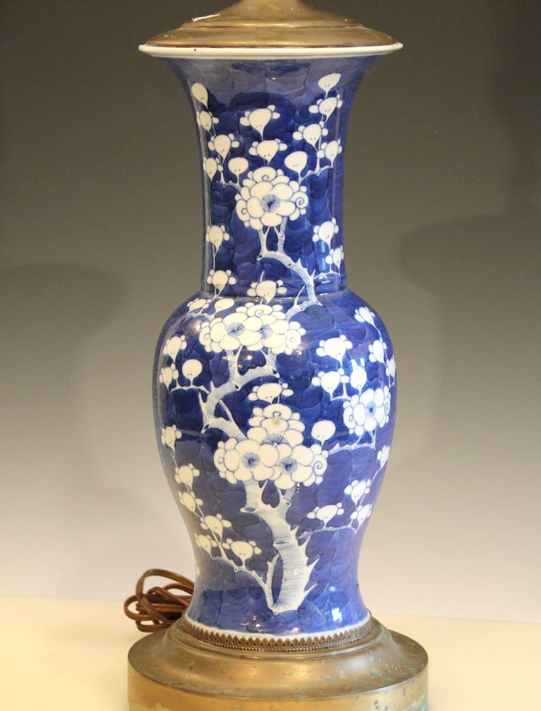 Old Chinese Porcelain Vase Lamp Hawthorne Prunus Blossom