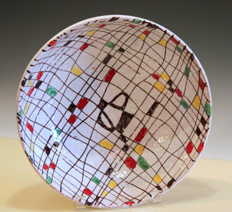 Mid-Century Modern Italian Pottery Serving Set Salad Bowl MCM Raymor Mondrian Modern Art Bitossi FF For Sale