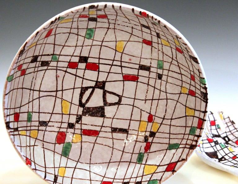 Italian Pottery Serving Set Salad Bowl MCM Raymor Mondrian Modern Art Bitossi FF For Sale 1