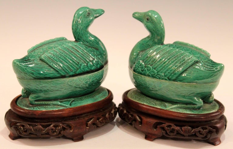 Pair of Chinese Porcelain Bird Figure Covered Boxes Ducks Geese Marked For Sale 1