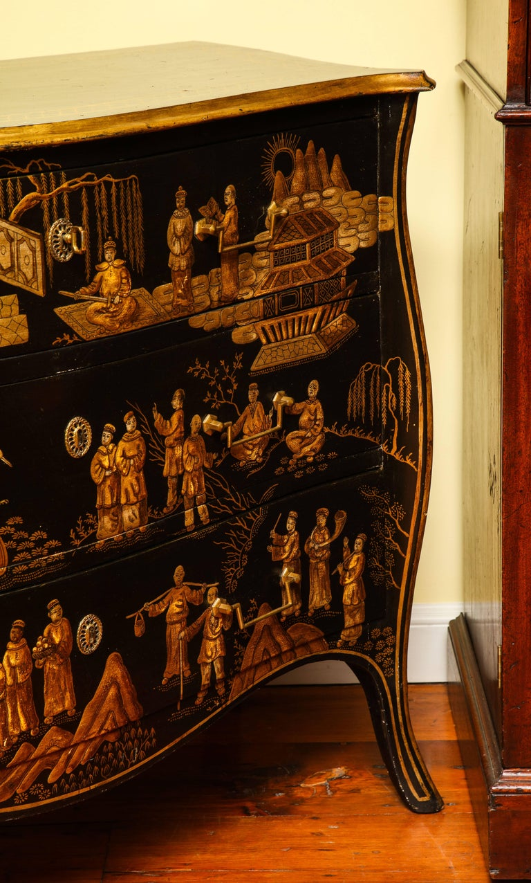 Chinoiserie Serpentine Chest of Drawers, Italian, circa 1950 In Stock For Sale 3
