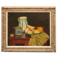 Oil on Canvas Still Life Fruit and Pitcher, Edward Barnard Lintott, circa 1935