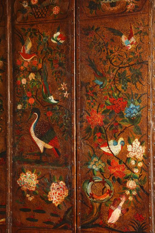 Early 18th Century English Six Panel Chinoiserie Polychrome Decorated Leather Screen, circa 1700 For Sale