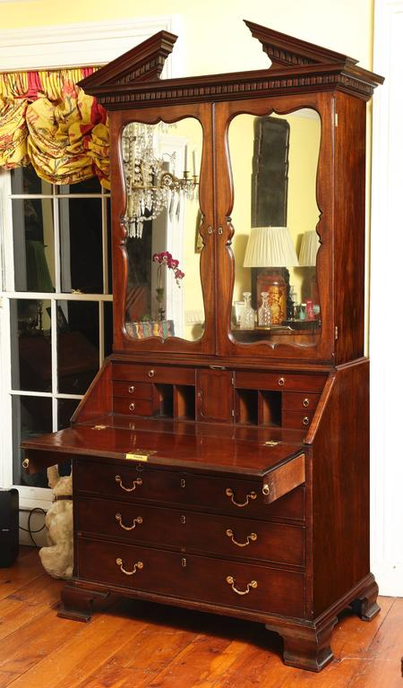 George Ii Mahogany Bureau Bookcase Attributed To Giles