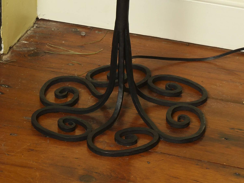 Mid-Century Handmade Black Painted Wrought Iron Tendril