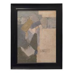 Vintage Abstract Oil Painting in Neutral Tones