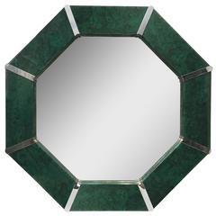 Octagonal Karl Springer Style Faux Malachite Mirror