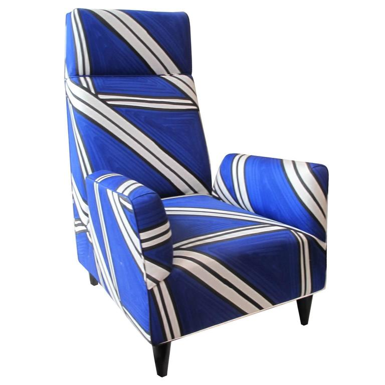 FLAIR Home Collection Custom Torino Chair in Hand-Painted Tria Fabric