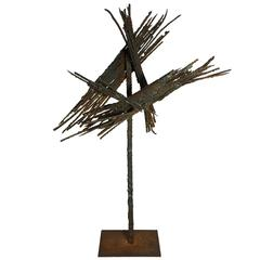 Brutalist Splayed Spike Metal Sculpture
