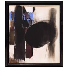 Abstract Painting in Black, Blue and Brown