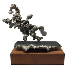 Abstract Aluminum Sculpture on Wood Base