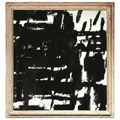 Square Black and White Abstract Painting
