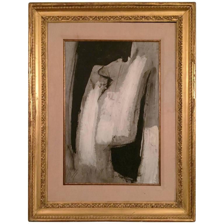Large 1970s Black and White Abstract Painting in Gilt Frame by Graham Harmon