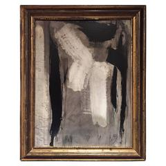 Black, White and Grey Abstract Painting in Black Gold Frame by Graham Harmon