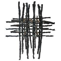 Freestanding Three-Panel Brutalist Sculpture