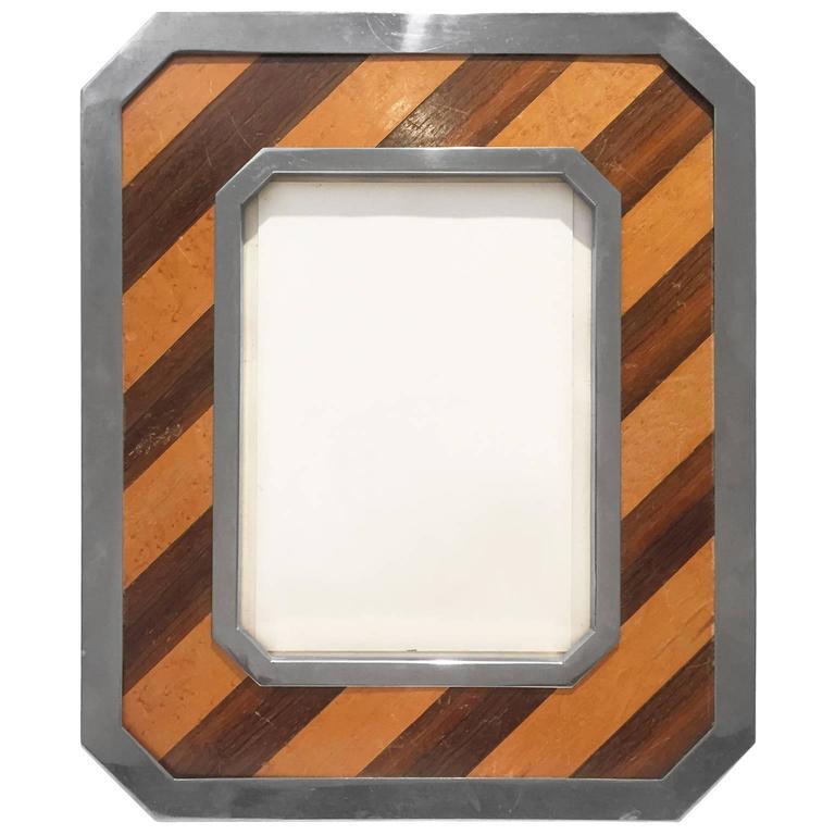 Diagonal Wood Stripe and Nickel Frame 1