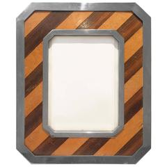 Diagonal Wood Stripe and Nickel Frame