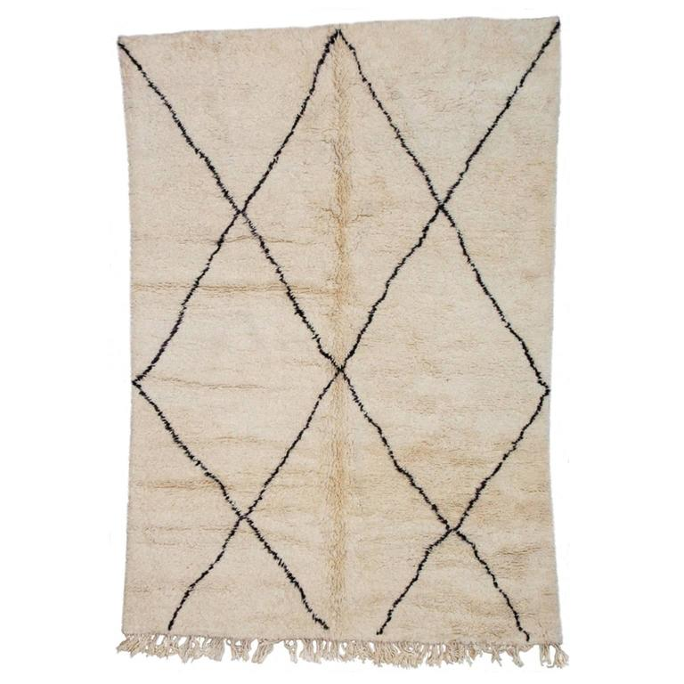 Beni Ourain Moroccan Rug with Large X-Pattern 1
