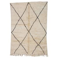 Beni Ourain Moroccan Rug with Large X-Pattern