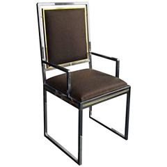 Brass and Chrome Armed Dining Chair