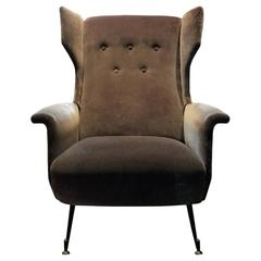Brown Velvet Wingback Chair