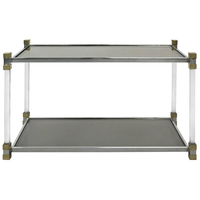 1970s French Chrome and Lucite Two-Tier Side Table with Smoked Glass Top