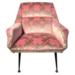 Mid-Century Italian Angled Back Club Chair in Pink and Celadon Geometric Velvet