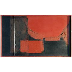 Mid-Century Abstract Oil Painting on Canvas in Black and Red Tones