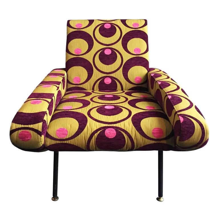 Curved Armchair in Embroidered Pop Upholstery For Sale