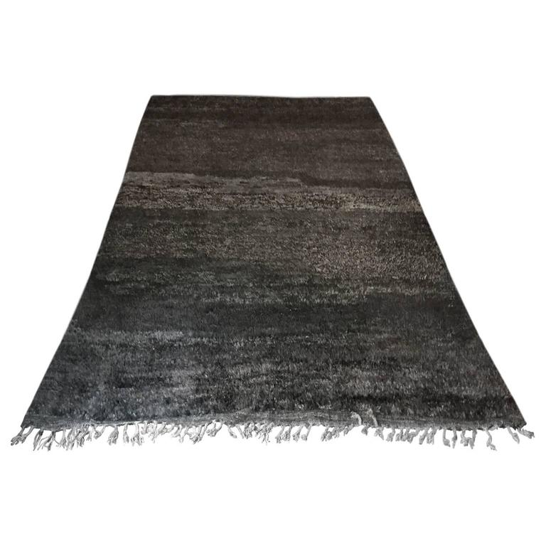 Moroccan Rug in Black, Browns and Grays For Sale