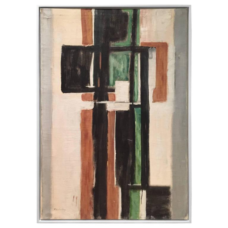 Mid-Century Abstract Painting in Black, Green, Umber by Phillip Callahan 1