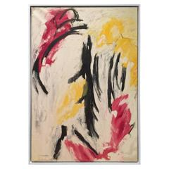 Vintage Large Abstract Painting in Black, Red, Yellow and White