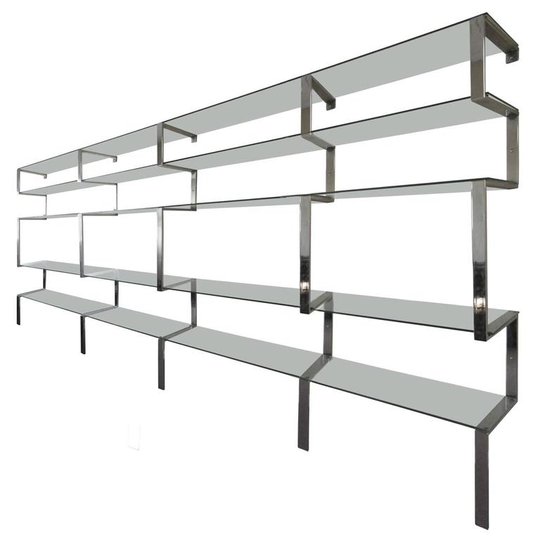 1970s Milo Baughman Five-Piece Chrome and Glass Shelving Unit 1