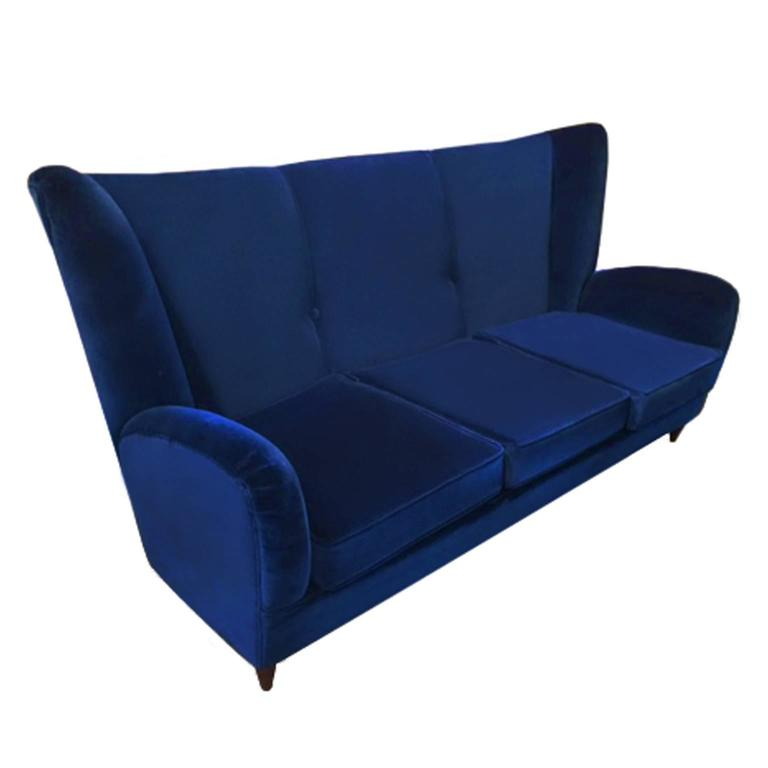 1960s Italian Sofa in Navy Blue Velvet by Paolo Buffa For Sale