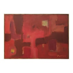 1970s Rectangular Abstract Painting in Reds