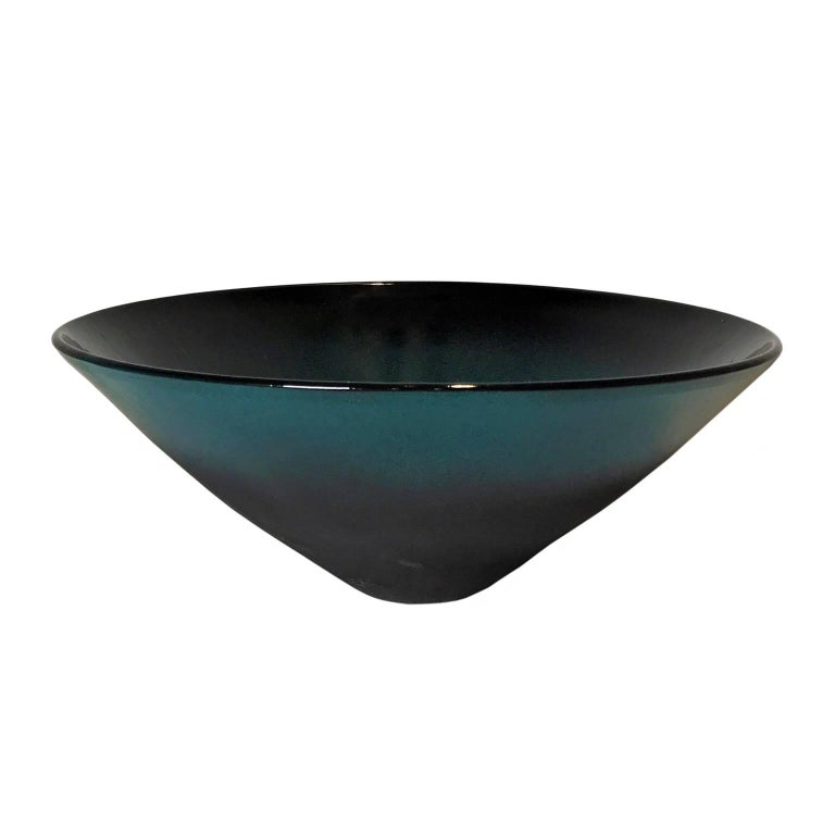 Matte Black and Turquoise Ombre Ceramic Bowl on Pointed Base by Sandi Fellman