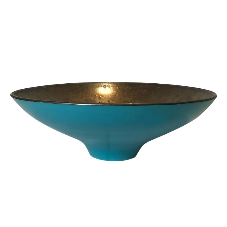 Wide Matte Turquoise Glaze Curved Ceramic Bowl by Sandi Fellman