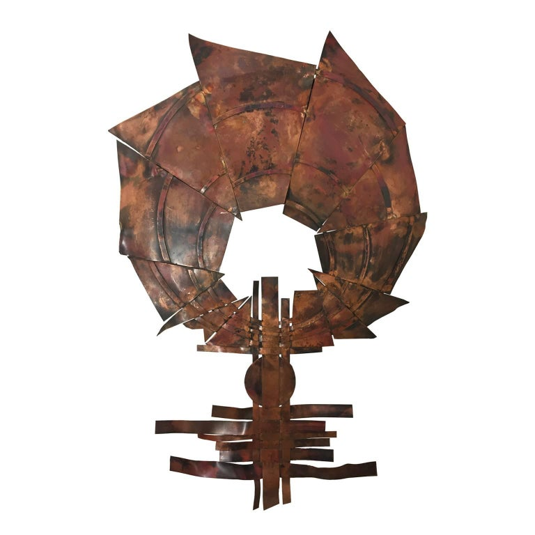 Brutalist Copper Wall Sculpture III by Sergei Gritsay For Sale