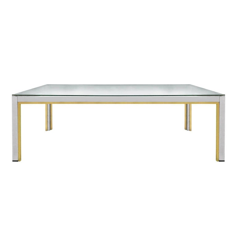 1970s Rectangular Brass and Chrome Coffee Table by Romeo Rega