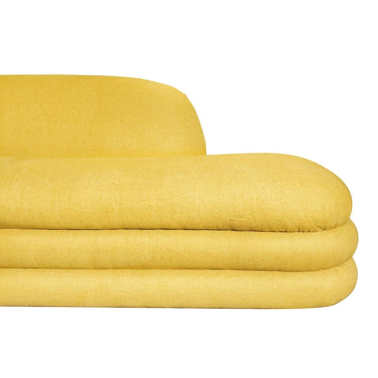 Large 1970s Curved Yellow Two-Piece Sectional Sofa 2