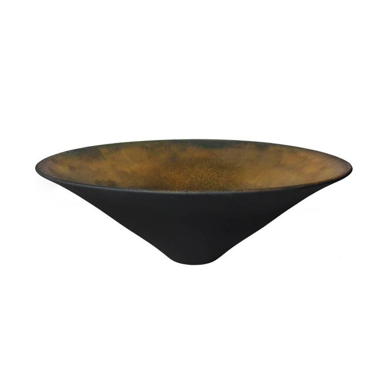 Black Matte Point Base Ceramic Bowl with Gold Glaze Interior by Sandi Fellman For Sale