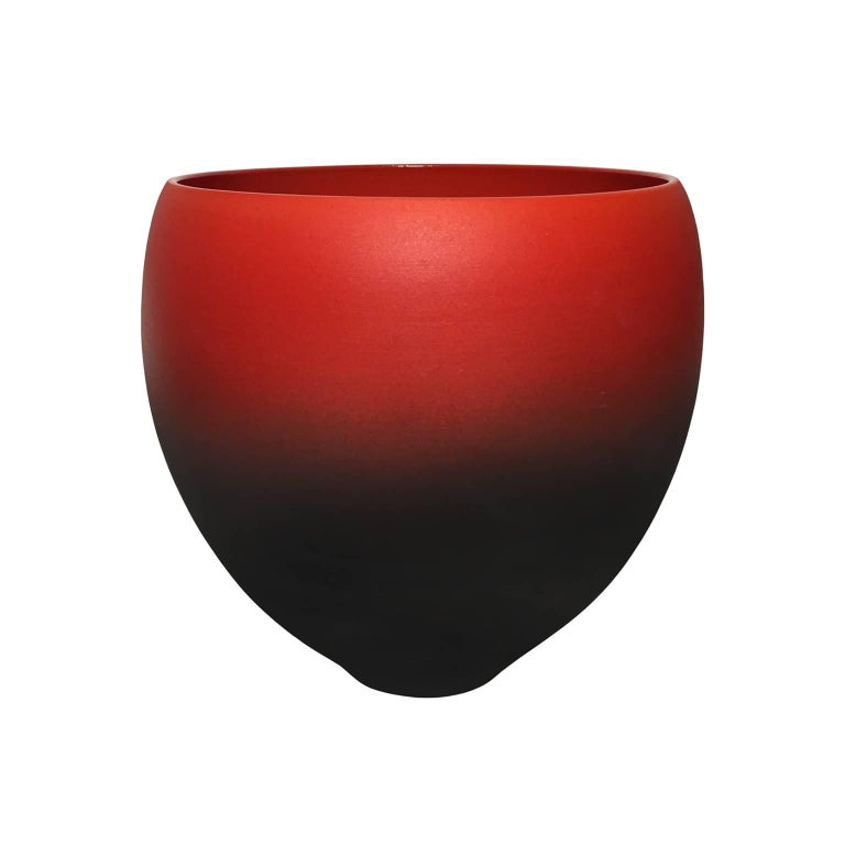 Red Ombre Matte Ceramic Bowl with Red Gloss Glaze Interior by Sandi Fellman For Sale