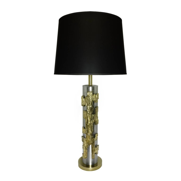 Midcentury Brushed Steel Laurel Table Lamp with Cast Brass Brutalist Motif 1